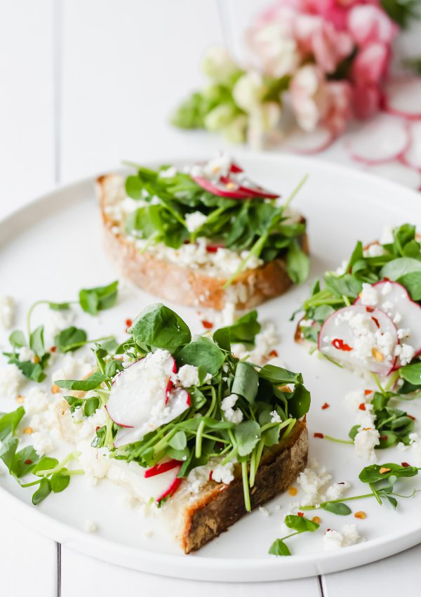 Goat Cheese Crostini with Microgreens & Radish