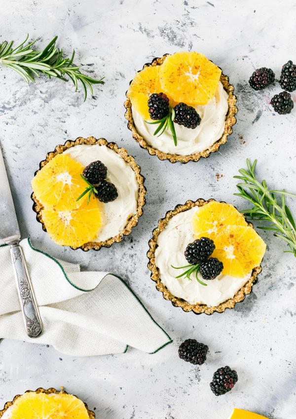 Clementine Coconut Cream Tarts with Macadamia Crust