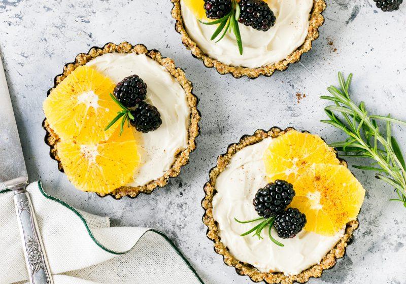 Clementine Coconut Cream Tarts with Macadamia Crust